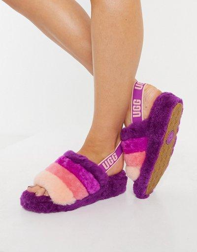 Sandali Multicolore donna Pantofole modello sliders, colore mora a righe - Fluff Yeah - Multicolore - UGG