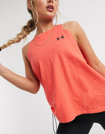 T-shirt Rosso donna Top senza maniche in charged cotton rosso con allacciatura laterale - Under Armour Training