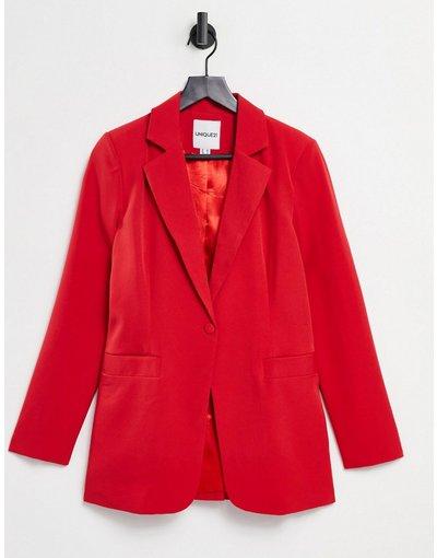 Rosso donna Blazer sartoriale rosso con singolo bottone - Unique21