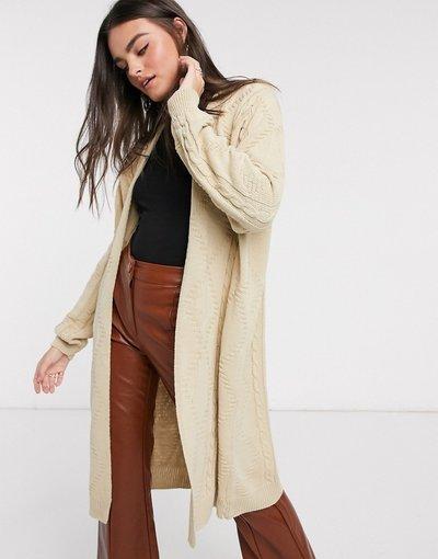 Grigio donna Cardigan a maglia taglio lungo grigio pietra - Unique21