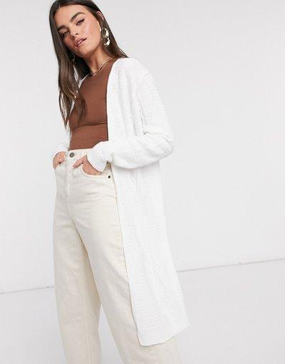 Bianco donna Cardigan lavorato a maglia taglio lungo bianco - Unique21