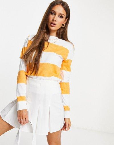 Arancione donna Felpa a righe bianche e arancioni - Unique21 - Arancione