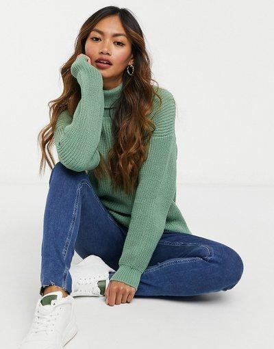 Verde donna Maglione con collo alto color salvia - Unique21 - Verde