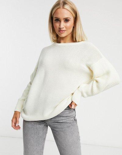 Bianco donna Maglione con scollo a barchetta bianco - Unique21