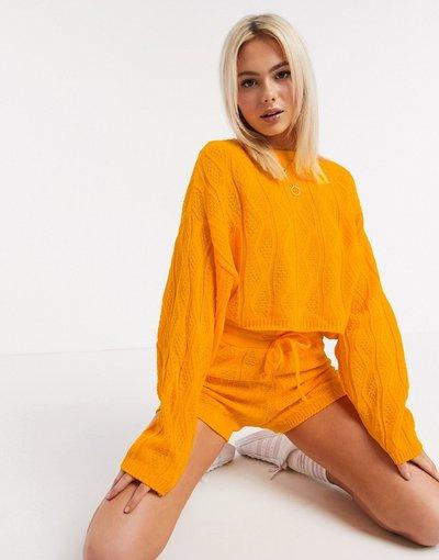 Arancione donna Maglione lavorato a trecce arancione - Unique21
