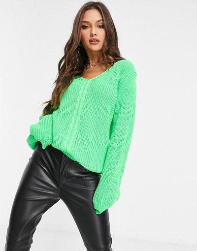 Verde donna Maglione lime con scollo a V - Unique21 - Verde