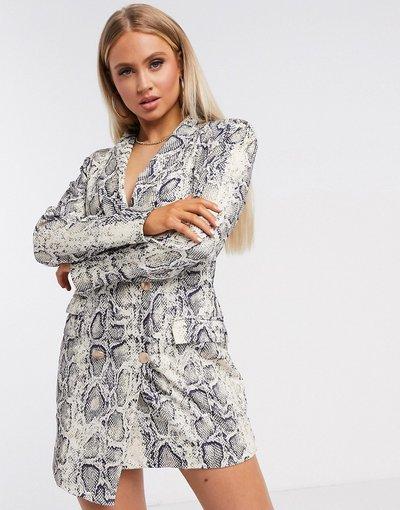 Navy donna Vestito stile blazer asimmetrico con stampa pitonata - Unique21 - Navy