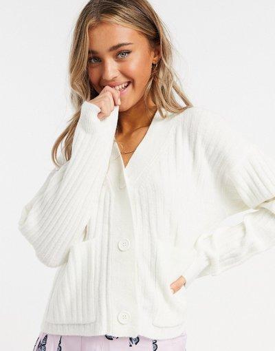 Bianco donna Cardigan bianco a coste - Urban Bliss