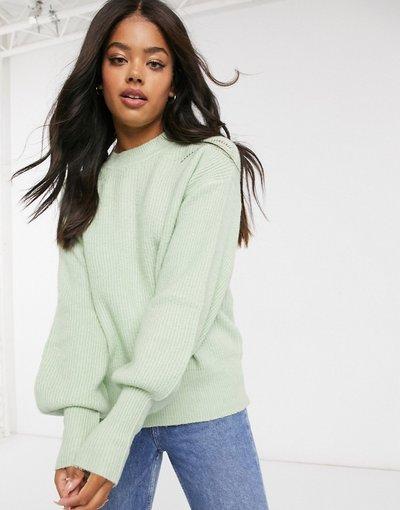 Verde donna Maglione lavorato con maniche voluminose verde chiaro - Urban Bliss