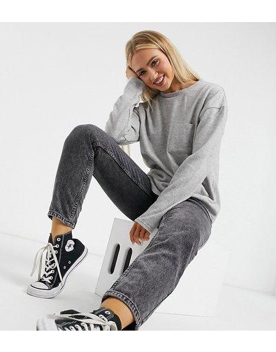 Grigio donna Maglione squadrato spazzolato con tasca grigio - Urban Bliss