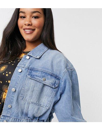 Blu donna Giacca di jeans con girovita elasticizzato lavaggio blu medio - Urban Bliss Plus