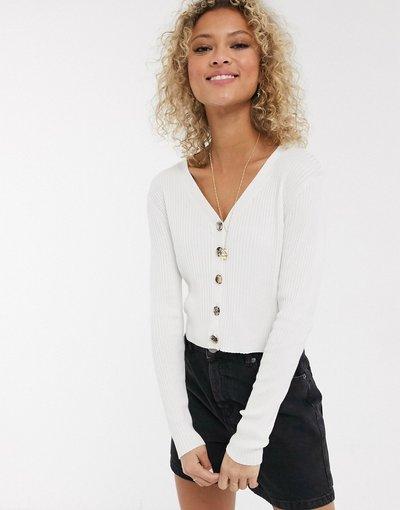 Crema donna Top in maglia con bottoni - Urban Bliss - Crema