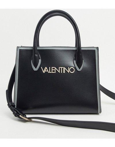 Portafoglio Nero donna Maxi borsa con tracolla con logo a contrasto nera - Valentino Bags - Mayor - Nero