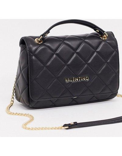 Portafoglio Nero donna Borsa nera trapuntata intrecciata con tracolla a catena - Valentino Bags - Ocarina - Nero