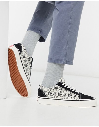Stivali Nero uomo Sneakers con teschi nero/bianco - Anaheim Old Skool 36 DX - Vans