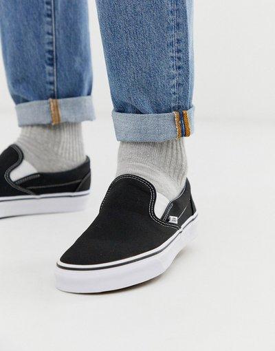 Stivali Nero uomo Scarpe di tela senza lacci nere - Vans Classic - Nero