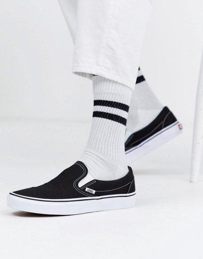 Stivali Nero uomo Sneakers senza lacci nere e bianche - Vans Classic - Nero