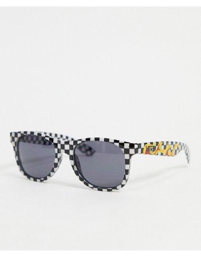 Occhiali Nero uomo Occhiali da sole a quadri bianchi e neri con fiamme - Spicoli 4 - Vans - Nero