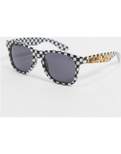 Occhiali Nero uomo Occhiali da sole a scacchi neri e bianchi con fiamme - Spicoli 4 - Vans - Nero