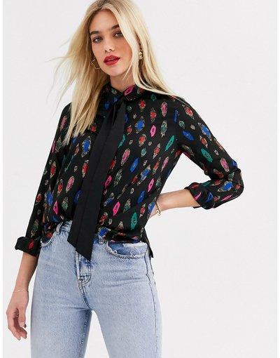 Camicia Multicolore donna Blusa in jacquard metallizzata con fiocco - Multicolore - Vero Moda