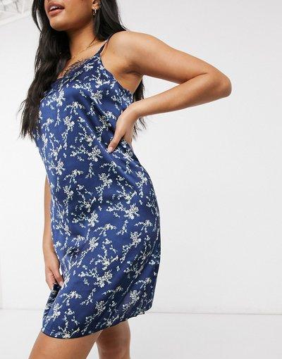 Pigiami Blu navy donna Camicia da notte in raso blu navy a fiori - Vero Moda