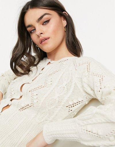 Maglione cardigan Crema donna Cardigan con peplo in maglia color crema - Vero Moda