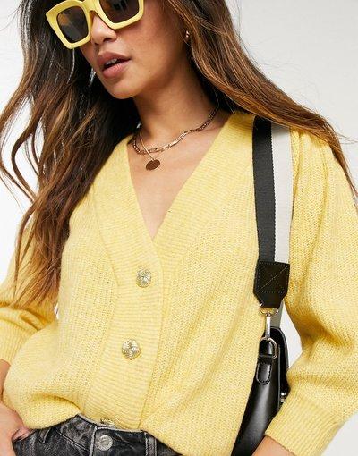 Giallo donna Cardigan in maglia giallo con maniche a sbuffo - Vero Moda