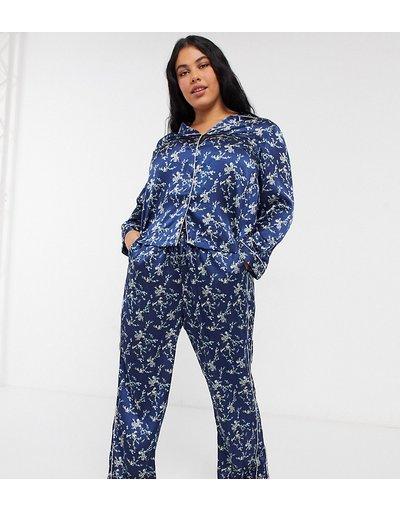 Pigiami Blu navy donna Pigiama di raso blu navy a fiori - Vero Moda Curve