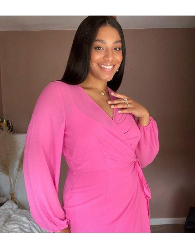 Rosa donna Vestito midi a portafoglio rosa - Vero Moda Curve