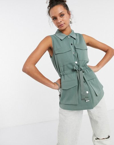 Verde donna Gilet multitasche verde allacciato in vita - Vero Moda