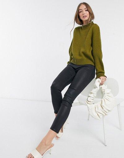 Verde donna Maglione accollato con perle kaki - Vero Moda - Verde
