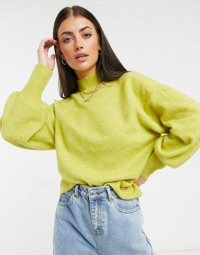 Giallo donna Maglione con maniche a palloncino lime - Vero Moda - Giallo