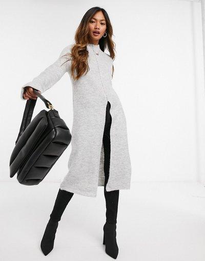 Grigio donna Maglione lungo con spacco sul davanti grigio chiaro - Vero Moda