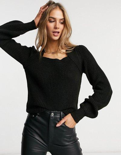 Nero donna Maglione nero con scollo quadrato e maniche voluminose - Vero Moda