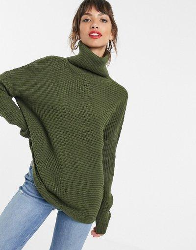 Verde donna Maglione pesante kaki con collo alto - Vero Moda - Verde