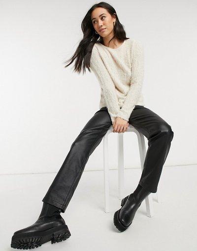 Crema donna Maglione soffice color crema con laccetto nero sul retro - Vero Moda