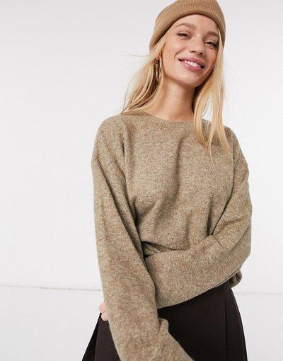 Beige donna Maglione squadrato color cammello - Vero Moda - Beige