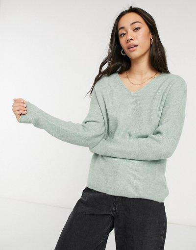 Verde donna Maglione verde con scollo a V - Vero Moda