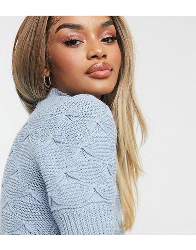 Blu donna Top in maglia blu con maniche a sbuffo e dettagli a fiocco - Vero Moda Petite