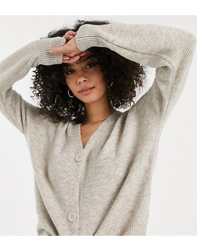 Beige donna Cardigan grigio pietra con maniche a palloncino - Vero Moda Tall - Beige