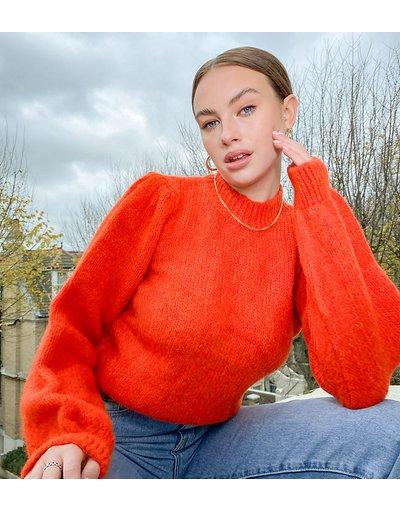 Arancione donna Maglione lavorato rosso con maniche a sbuffo - Vero Moda Tall - Arancione