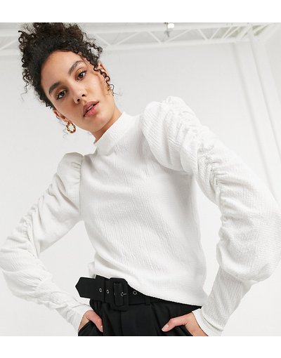Bianco donna Top accollato bianco con maniche arricciate - Vero Moda Tall