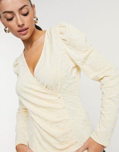 Camicia Crema donna Top avvolgente crema con bottoni e maniche a sbuffo - Vero Moda