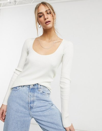 Crema donna Top in maglia con scollo a V color crema - Vero Moda
