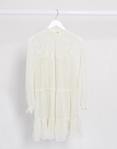 Crema donna Vestito grembiule corto in reta a pallini crema con ricamo - Vero Moda