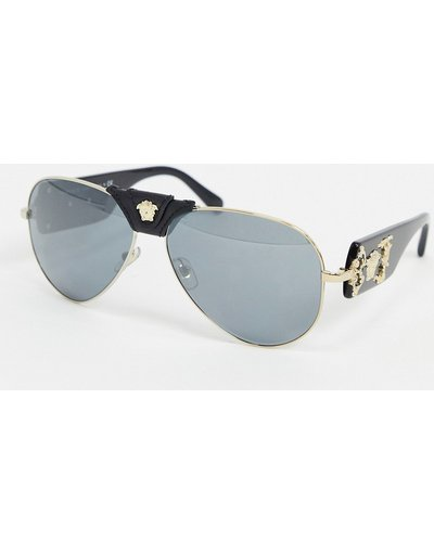 Occhiali Nero uomo Occhiali da sole modello aviatore con ponte rimovibile - 0VE2150Q - Versace - Nero