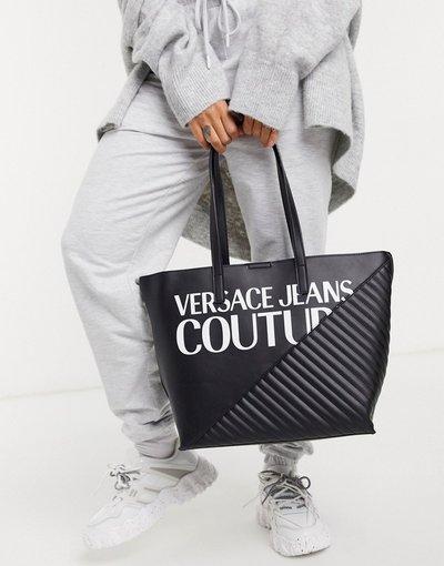 Portafoglio Nero donna Borsa shopper con logo nera - Versace Jeans Couture - Nero