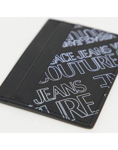 Portafoglio Nero uomo Portacarte nero con stampa con logo viola - Versace Jeans Couture