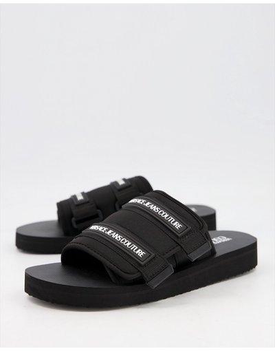 Novita Nero uomo Sliders con chiusura a strappo nere - Versace Jeans Couture - Nero