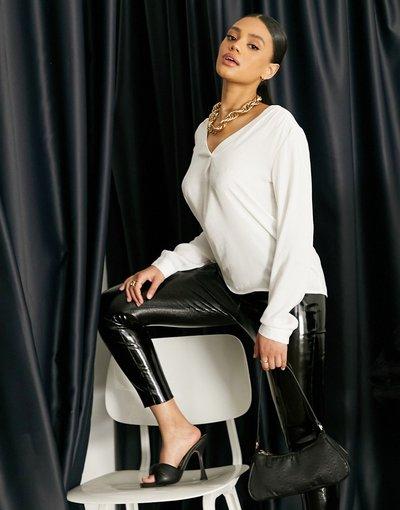 Camicia Bianco donna Blusa a portafoglio nera - Bianco - Vila